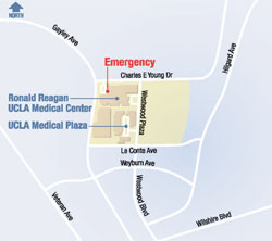 Ronald Reagan UCLA Medical Center vicinity map - Westwood, CA